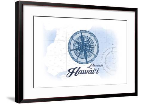 Lahaina, Hawaii - Compass - Blue - Coastal Icon-Lantern Press-Framed Art Print