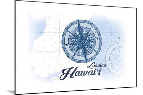 Lahaina, Hawaii - Compass - Blue - Coastal Icon-Lantern Press-Mounted Art Print