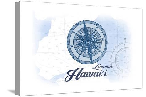 Lahaina, Hawaii - Compass - Blue - Coastal Icon-Lantern Press-Stretched Canvas Print