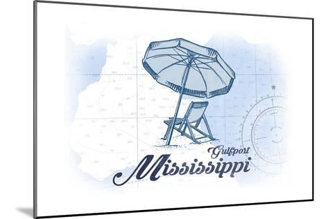 Gulfport, Mississippi - Beach Chair and Umbrella - Blue - Coastal Icon-Lantern Press-Mounted Art Print