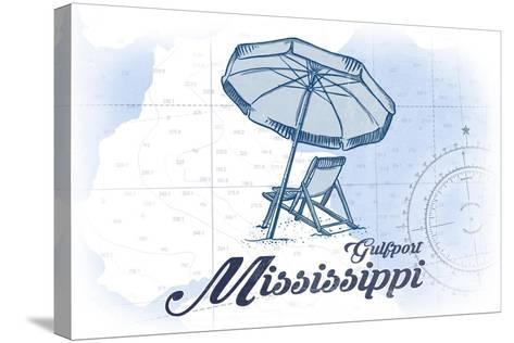 Gulfport, Mississippi - Beach Chair and Umbrella - Blue - Coastal Icon-Lantern Press-Stretched Canvas Print
