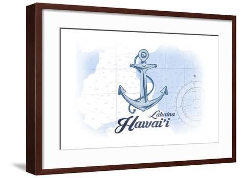 Lahaina, Hawaii - Anchor - Blue - Coastal Icon-Lantern Press-Framed Art Print