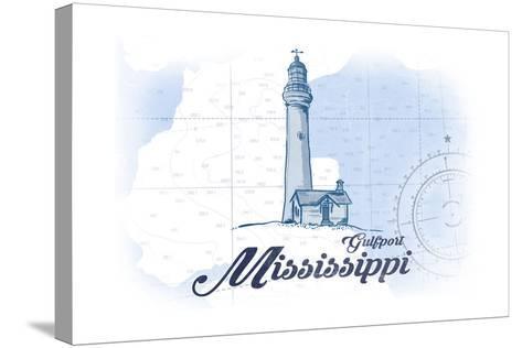 Gulfport, Mississippi - Lighthouse - Blue - Coastal Icon-Lantern Press-Stretched Canvas Print