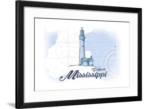 Gulfport, Mississippi - Lighthouse - Blue - Coastal Icon-Lantern Press-Framed Art Print