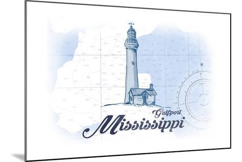 Gulfport, Mississippi - Lighthouse - Blue - Coastal Icon-Lantern Press-Mounted Art Print