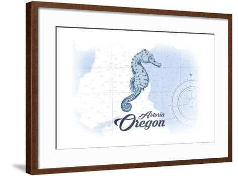 Astoria, Oregon - Seahorse - Blue - Coastal Icon-Lantern Press-Framed Art Print