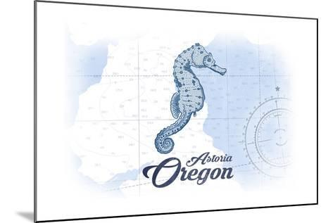 Astoria, Oregon - Seahorse - Blue - Coastal Icon-Lantern Press-Mounted Art Print