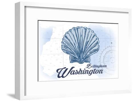 Bellingham, Washington - Scallop Shell - Blue - Coastal Icon-Lantern Press-Framed Art Print