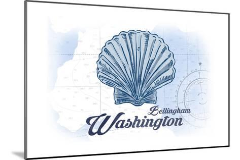 Bellingham, Washington - Scallop Shell - Blue - Coastal Icon-Lantern Press-Mounted Art Print