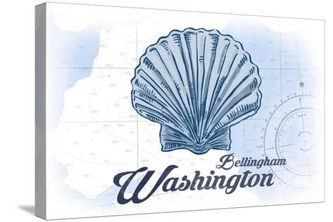 Bellingham, Washington - Scallop Shell - Blue - Coastal Icon-Lantern Press-Stretched Canvas Print