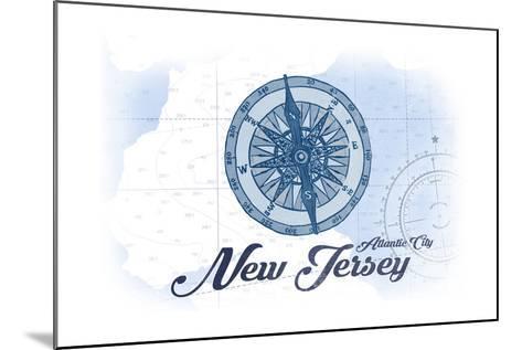Atlantic City, New Jersey - Compass - Blue - Coastal Icon-Lantern Press-Mounted Art Print