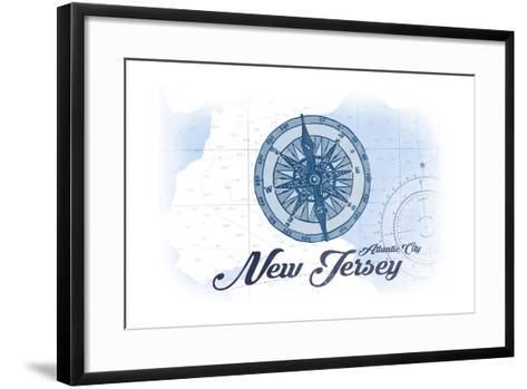 Atlantic City, New Jersey - Compass - Blue - Coastal Icon-Lantern Press-Framed Art Print