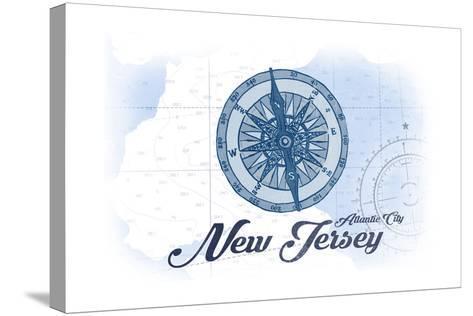 Atlantic City, New Jersey - Compass - Blue - Coastal Icon-Lantern Press-Stretched Canvas Print