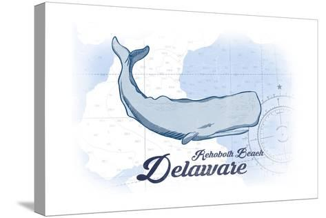 Rehoboth Beach, Delaware - Whale - Blue - Coastal Icon-Lantern Press-Stretched Canvas Print