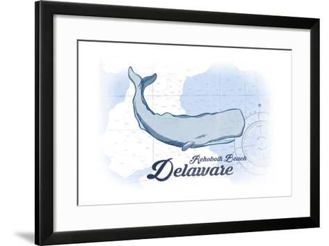 Rehoboth Beach, Delaware - Whale - Blue - Coastal Icon-Lantern Press-Framed Art Print