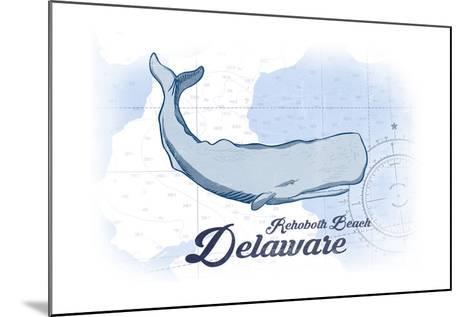 Rehoboth Beach, Delaware - Whale - Blue - Coastal Icon-Lantern Press-Mounted Art Print