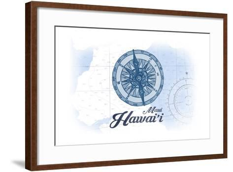 Maui, Hawaii - Compass - Blue - Coastal Icon-Lantern Press-Framed Art Print