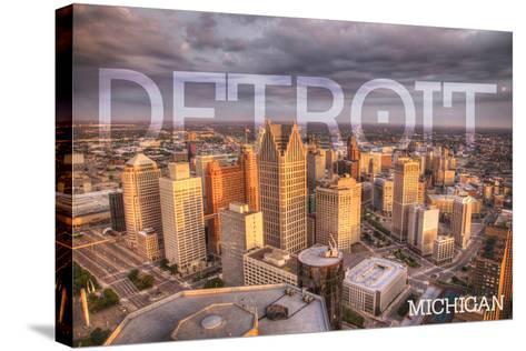 Detroit, Michigan - City Aerial View-Lantern Press-Stretched Canvas Print