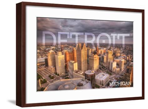 Detroit, Michigan - City Aerial View-Lantern Press-Framed Art Print