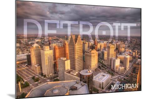 Detroit, Michigan - City Aerial View-Lantern Press-Mounted Art Print