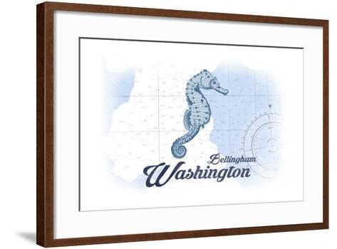 Bellingham, Washington - Seahorse - Blue - Coastal Icon-Lantern Press-Framed Art Print