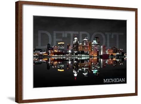 Detroit, Michigan - City at Night-Lantern Press-Framed Art Print
