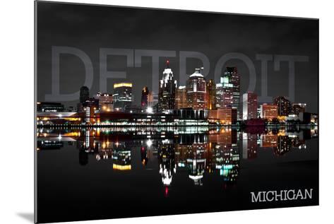 Detroit, Michigan - City at Night-Lantern Press-Mounted Art Print