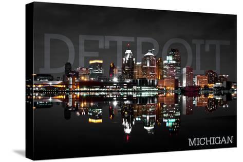 Detroit, Michigan - City at Night-Lantern Press-Stretched Canvas Print