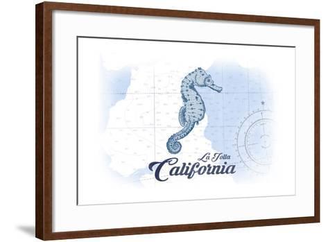 La Jolla, California - Seahorse - Blue - Coastal Icon-Lantern Press-Framed Art Print