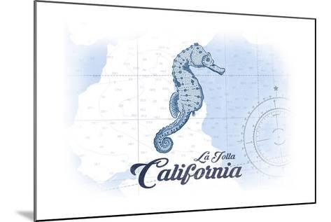 La Jolla, California - Seahorse - Blue - Coastal Icon-Lantern Press-Mounted Art Print