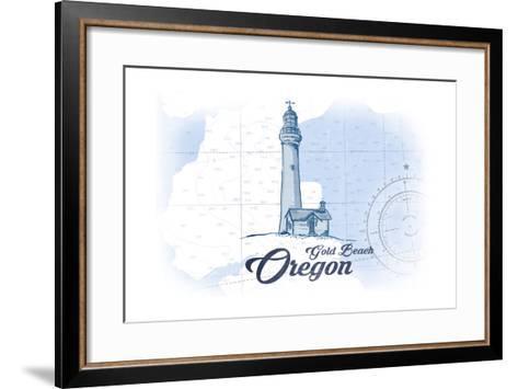 Gold Beach, Oregon - Lighthouse - Blue - Coastal Icon-Lantern Press-Framed Art Print