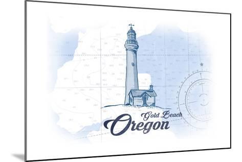 Gold Beach, Oregon - Lighthouse - Blue - Coastal Icon-Lantern Press-Mounted Art Print