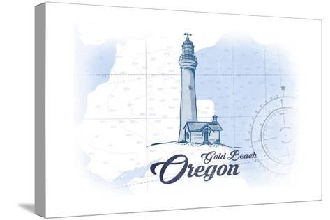 Gold Beach, Oregon - Lighthouse - Blue - Coastal Icon-Lantern Press-Stretched Canvas Print