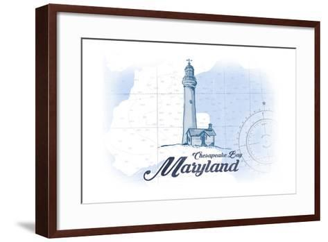 Chesapeake Bay, Maryland - Lighthouse - Blue - Coastal Icon-Lantern Press-Framed Art Print