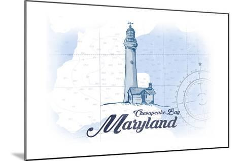 Chesapeake Bay, Maryland - Lighthouse - Blue - Coastal Icon-Lantern Press-Mounted Art Print