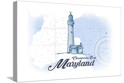 Chesapeake Bay, Maryland - Lighthouse - Blue - Coastal Icon-Lantern Press-Stretched Canvas Print
