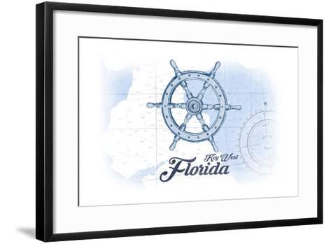 Key West, Florida - Ship Wheel - Blue - Coastal Icon-Lantern Press-Framed Art Print