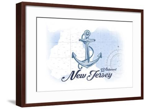 Wildwood, New Jersey - Anchor - Blue - Coastal Icon-Lantern Press-Framed Art Print