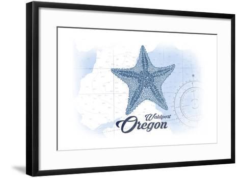 Waldport, Oregon - Starfish - Blue - Coastal Icon-Lantern Press-Framed Art Print