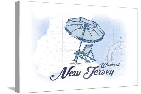 Wildwood, New Jersey - Beach Chair and Umbrella - Blue - Coastal Icon-Lantern Press-Stretched Canvas Print