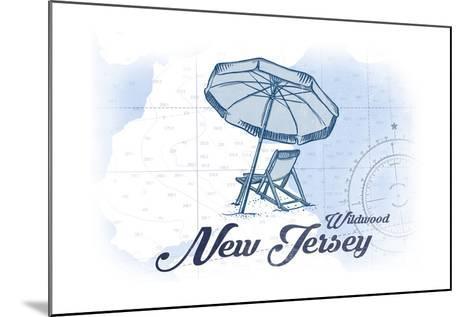 Wildwood, New Jersey - Beach Chair and Umbrella - Blue - Coastal Icon-Lantern Press-Mounted Art Print