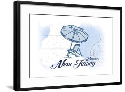 Wildwood, New Jersey - Beach Chair and Umbrella - Blue - Coastal Icon-Lantern Press-Framed Art Print
