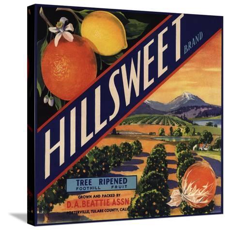 Hillsweet Brand - Porterville, California - Citrus Crate Label-Lantern Press-Stretched Canvas Print