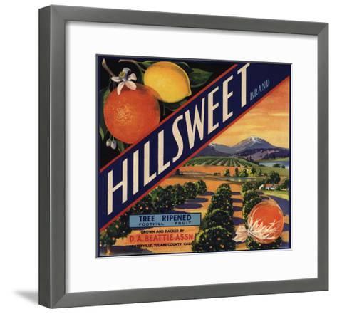 Hillsweet Brand - Porterville, California - Citrus Crate Label-Lantern Press-Framed Art Print