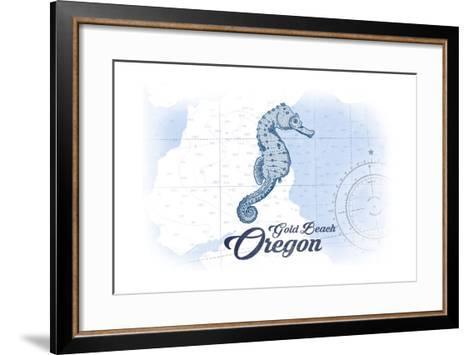 Gold Beach, Oregon - Seahorse - Blue - Coastal Icon-Lantern Press-Framed Art Print