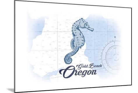 Gold Beach, Oregon - Seahorse - Blue - Coastal Icon-Lantern Press-Mounted Art Print