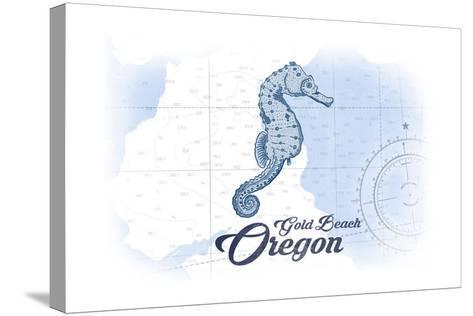 Gold Beach, Oregon - Seahorse - Blue - Coastal Icon-Lantern Press-Stretched Canvas Print
