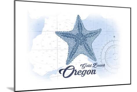 Gold Beach, Oregon - Starfish - Blue - Coastal Icon-Lantern Press-Mounted Art Print