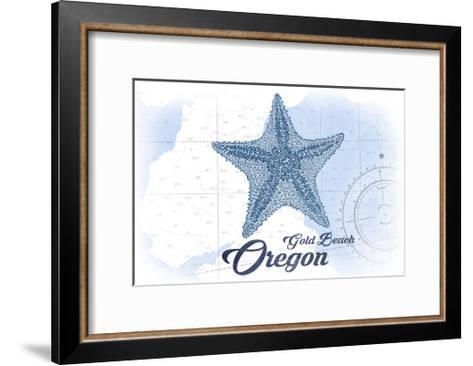 Gold Beach, Oregon - Starfish - Blue - Coastal Icon-Lantern Press-Framed Art Print