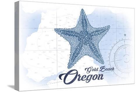 Gold Beach, Oregon - Starfish - Blue - Coastal Icon-Lantern Press-Stretched Canvas Print